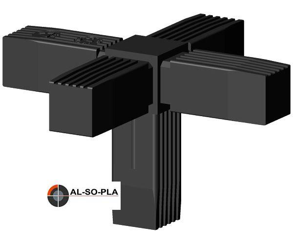5er Verbinder - Kreuz mit Abgang für 20mm Profil