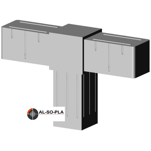 T-Stück Verbinder für 20mm Profil Farbe: grau