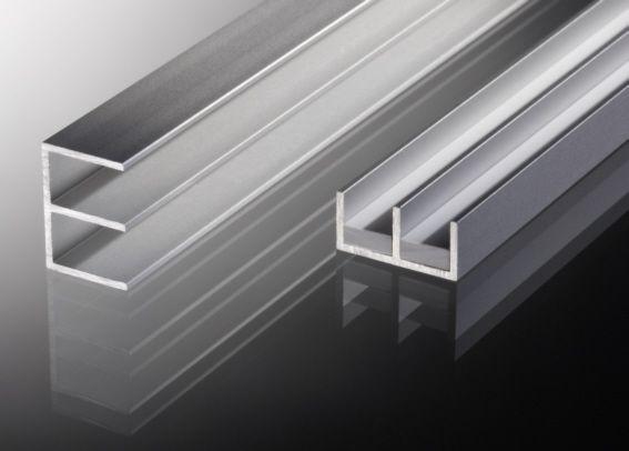 Schiebetürprofil 6mm - Aluminium - UNTEN