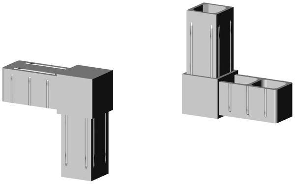 Winkel Verbinder für 25x25x2mm Profil. Farbe: grau