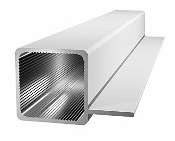 Aluminiumprofil 25x25x1,5mm mit Steg - silbereloxiert.
