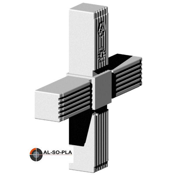 Kreuz Verbinder für 25mm Profil grau