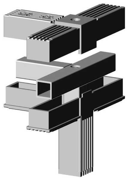 4er mit M10 Gewinde grau 9006 für 25mm Profil
