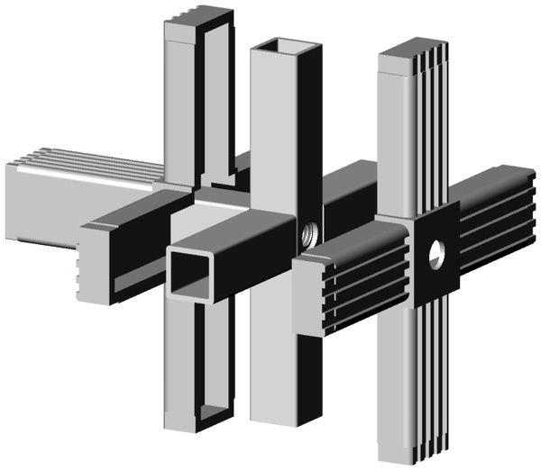 5er mit M10 Gewinde grau 9006 für 25mm Profil