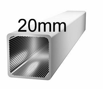 Aluminiumprofil, 20x20x1,5mm- ohne Steg - silbereloxiert