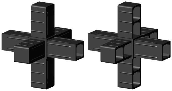 Stern für 25x25x2mm Profil - Kunststoff - schwarz