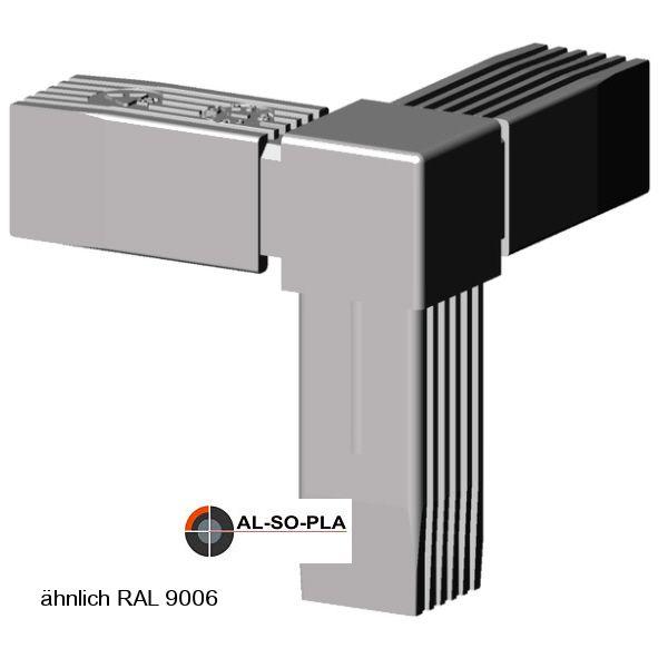 Ecke 3er Verbinder für 25mm Profil grau 9006
