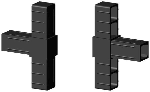 T-Stück Verbinder für 25x25x2mm Profill Farbe: schwarz