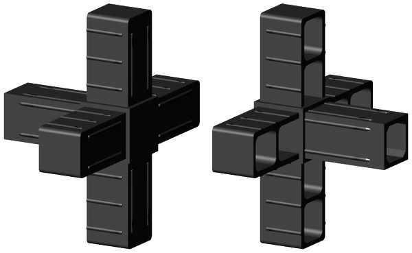 Kreuz mit Abgang für 25x25x2mm Profil - Kunststoff - schwarz