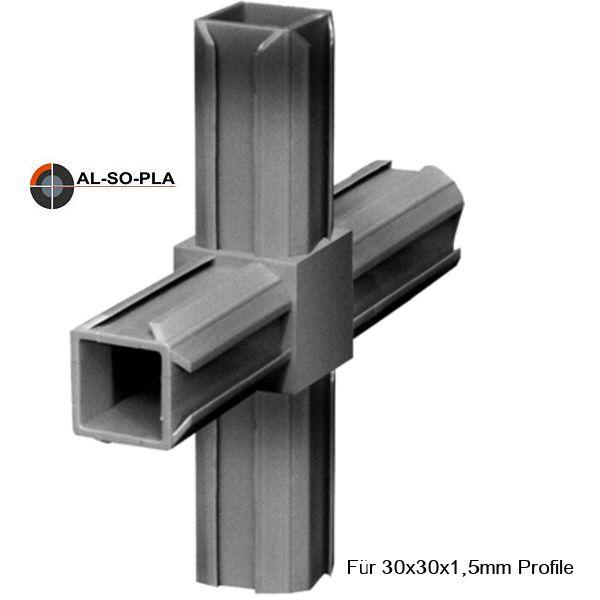 Steckverbinder (Kreuz) für 30x30x1,5mm Profile