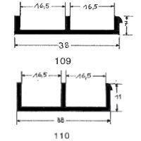 Schiebetürprofil 16mm - schwarz - oben