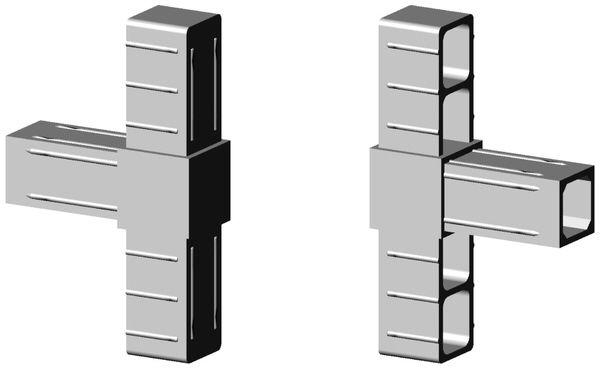 T-Stück Verbinder für 25x25x2mm Profill Farbe: grau