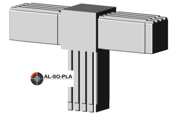 T-Stück Verbinder für 25mm Profil grau