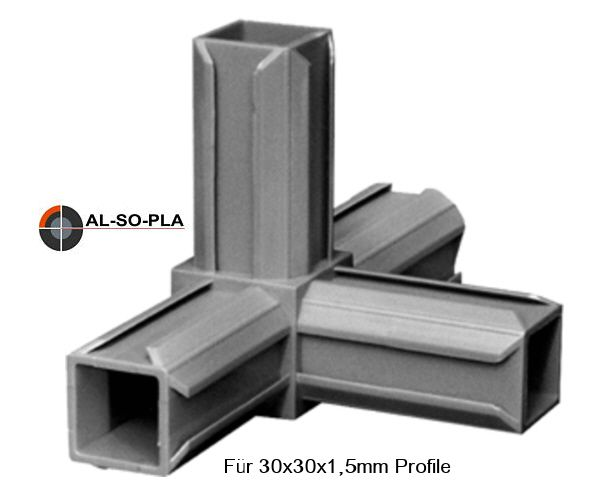 Steckverbinder 4er (T mit Abgang) für 30x30x1,5mm Profile