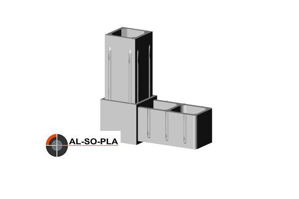 Winkel Verbinder für 20mm Profil. Farbe: grau