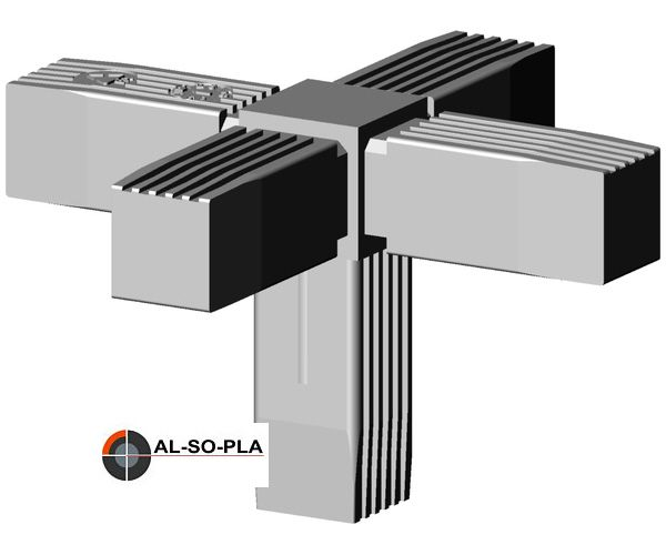 5er Verbinder Kunststoff für 25mm Profil -. Farbe:grau