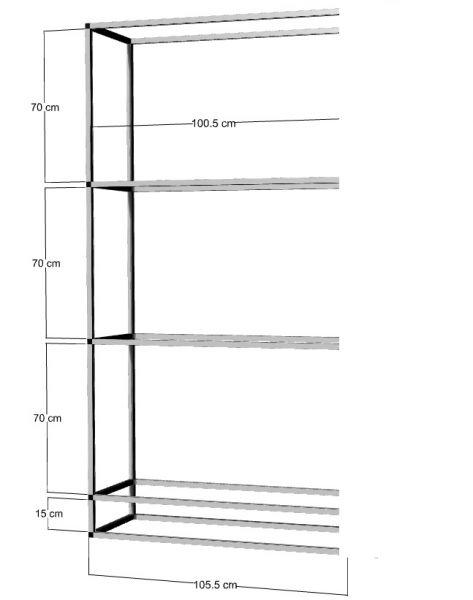Anbauregal für 3 St. 100x50x50cm Aquarien