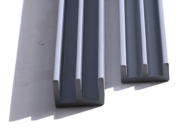 SET Schiebetürprofile 4mm - grau - oben/unten