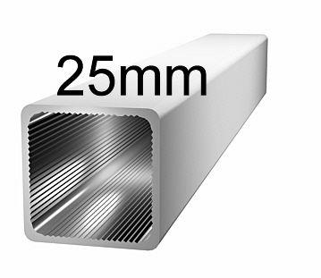 Aluminiumprofil, 25x25x1,5mm- ohne Steg - silbereloxiert