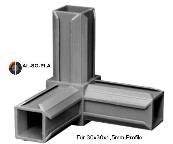Steckverbinder für Profile  30x30x1,5mm
