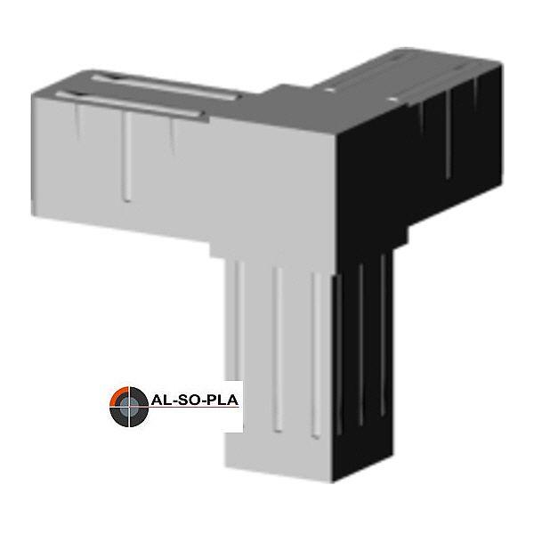 Ecke - Verbinder Kunststoff für 20mm Profil. Farbe: grau