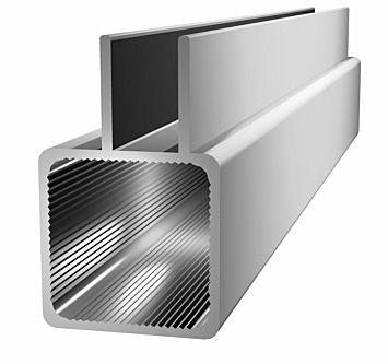 Aluminiumprofil 25x25x1,5mm mit Doppelsteg -(Nut 9mm) - silberel