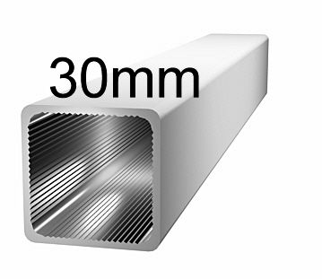 Aluminiumprofil, 30x30x2mm- ohne Steg - silbereloxiert