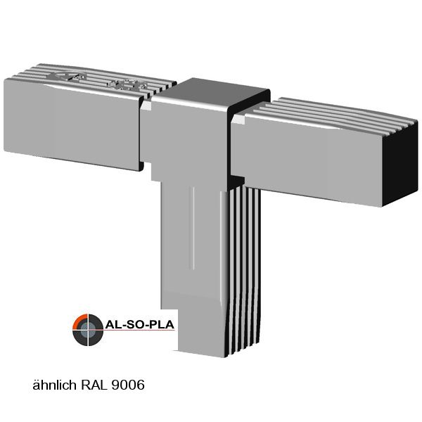 T-Stück Verbinder für 25mm Profil Farbe: grau
