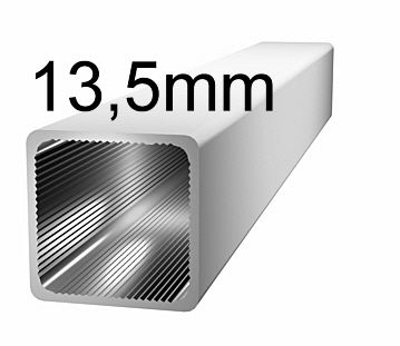 Aluminiumprofil, 13,5x13,5x1,25mm- ohne Steg - silbereloxiert