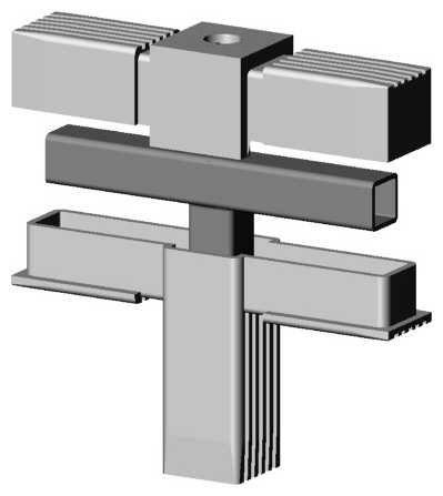 T-Stück mit M10 Gewinde grau 9006