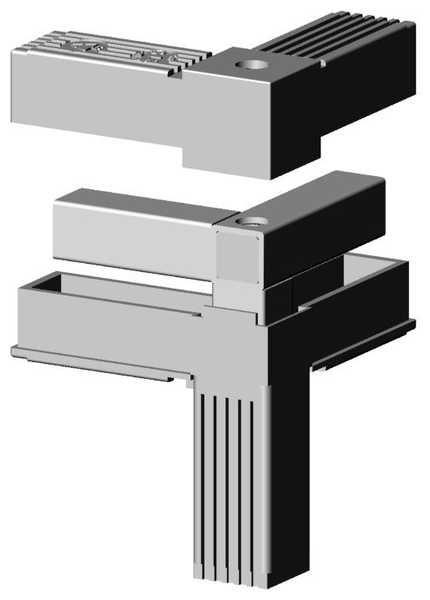 Ecke mit M10 Gewinde grau für 25mm Profil