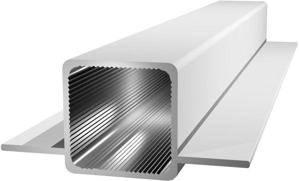 Aluminiumprofil 25x25x1,5mm mit 2 Stegen - silbereloxiert