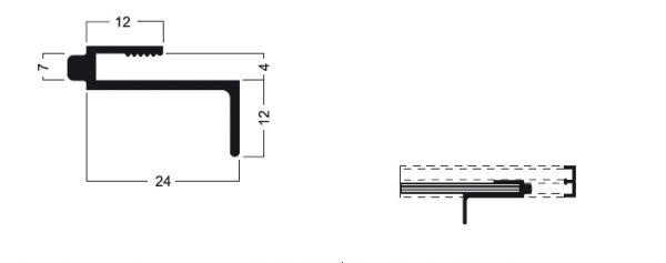 Schiebetürgriffleistenprofil schwarz