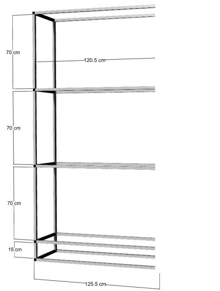 Anbauregal für 3 St. 120x40x50cm Aquarien