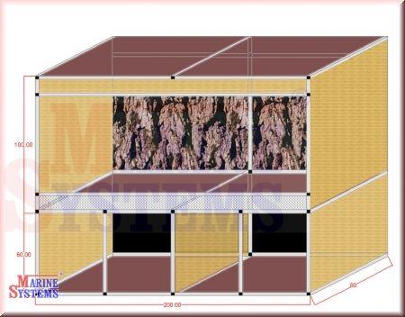 Terrarium m. Schrank 200x80x160cm
