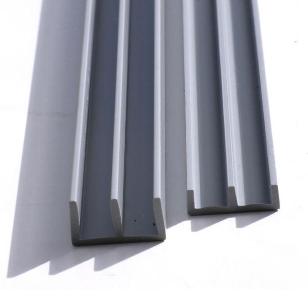 SET Schiebetürprofile 6mm - grau - oben/unten