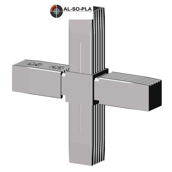 Kreuz Verbinder für 25mm Profil grau 9006