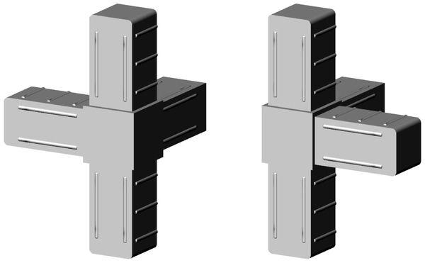 4er Verbinder für 25x25x2mm Profil - Kunststoff - grau