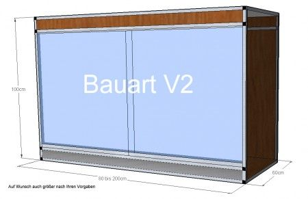 Terrarium der Bauart V2 - 160x60x100cm