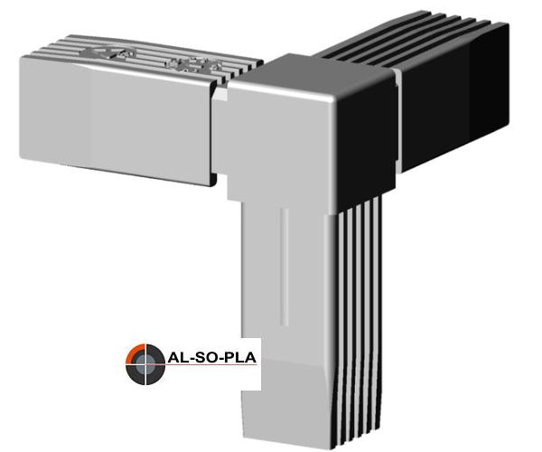 ecke verbinder kunststoff f r 25mm profil farbe grau steckverbinder grau 7035 f r 25x25x1. Black Bedroom Furniture Sets. Home Design Ideas