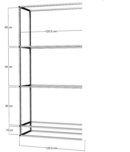 Anbauregal für 3 St. 120x40x40cm Aquarien