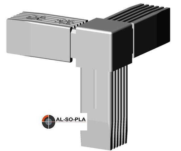 Ecke - Verbinder Kunststoff für 25mm Profil. Farbe: grau