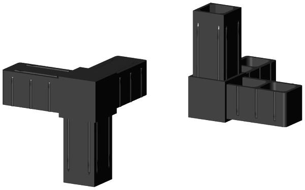 Steckverbinder für Profile 25x25x2mm