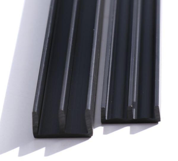 SET Schiebetürprofile 6mm - schwarz - oben/unten