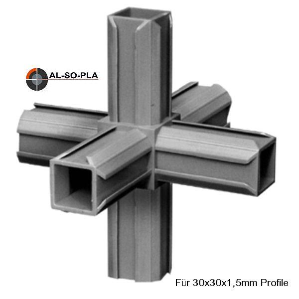 Steckverbinder 6er (Stern) für 30x30x1,5mm Profile