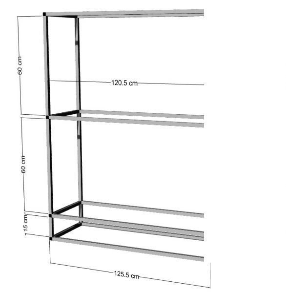 Anbauregal für 2-3St. 120x40x40cm Aquarien