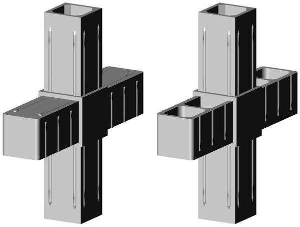 Kreuzverbinder für 25x25x2mm Profil Farbe: grau