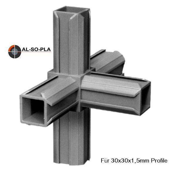 Steckverbinder 5er (Kreuz mit Abgang) für 30x30x1,5mm Profile