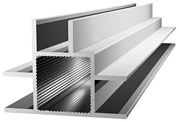 Aluminiumprofil 20x20x1,5mm mit Doppelsteg - Links/Rechts/Mitte