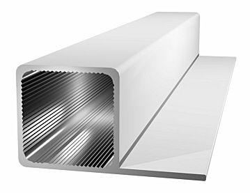 Aluminiumprofil 25x25x1,5mm Steg -bündig - silbereloxiert.